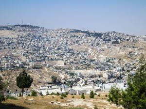 Blick auf Teile der Häuser in Ost-jerusalem, die von Abrissbefehlen bedroht sind